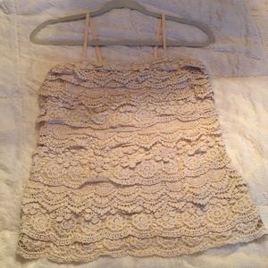 Body Central Lace Tank Top Cream Large